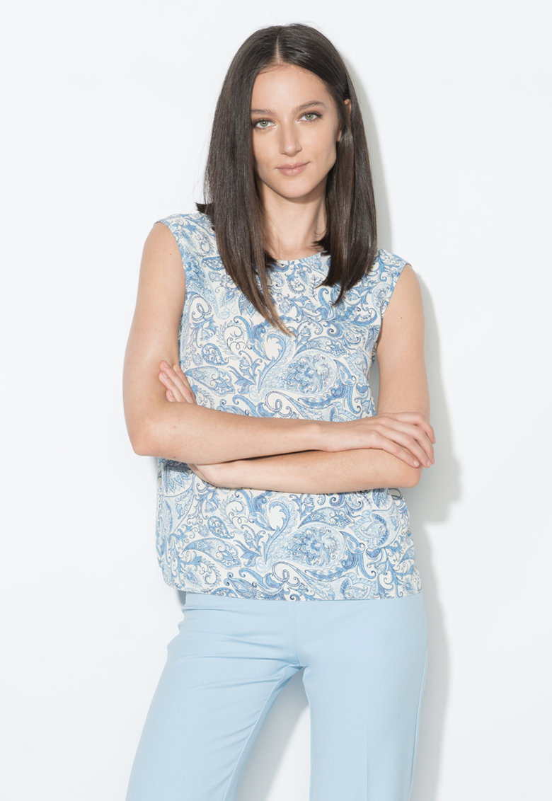 Zee Lane Collection Top alb si albastru cu model floral