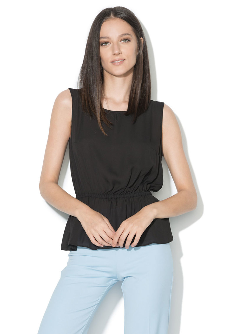 Zee Lane Collection Top negru cu insertie elastica