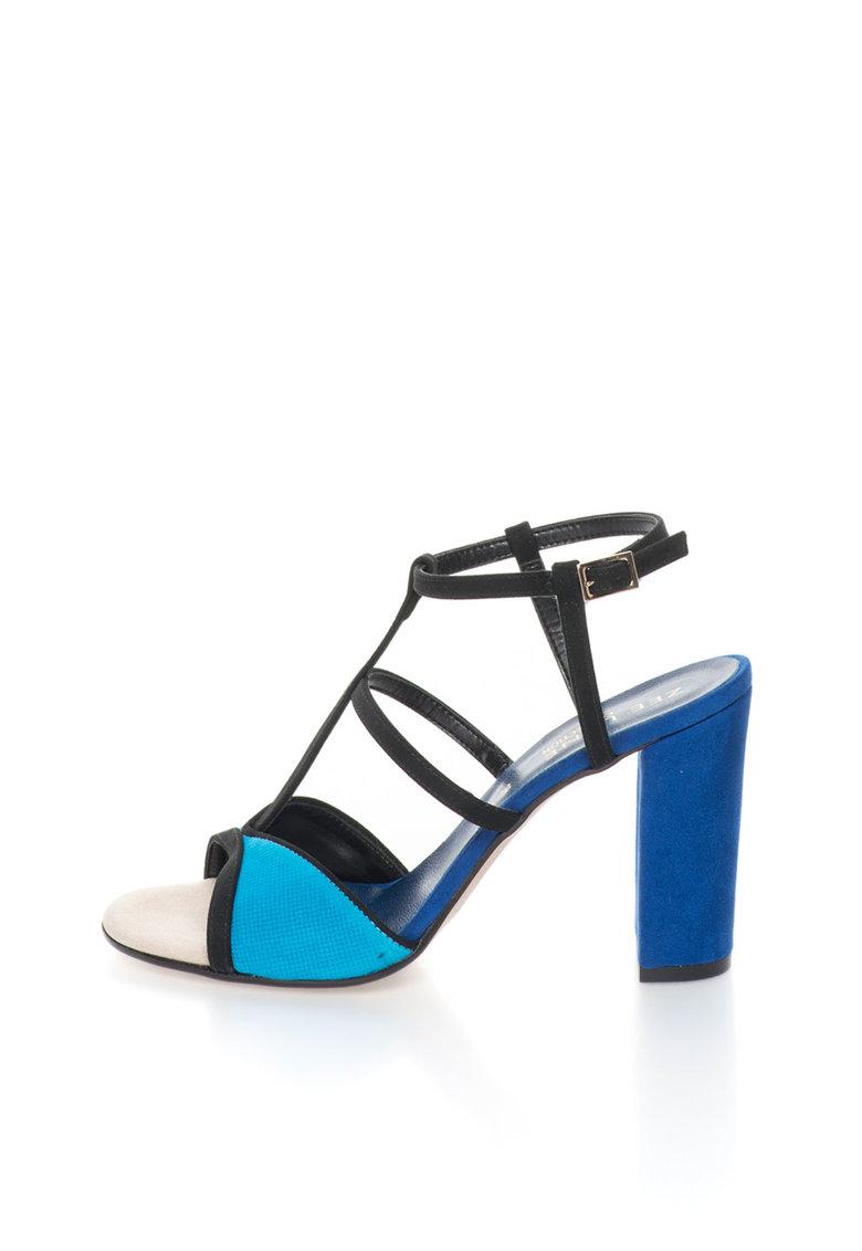 Zee Lane Collection Sandale negru cu albastru de piele intoarsa