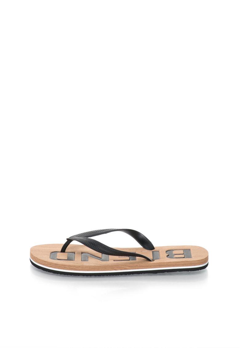 BLEND Papuci flip-flop negri cu talpa cu aspect de lemn