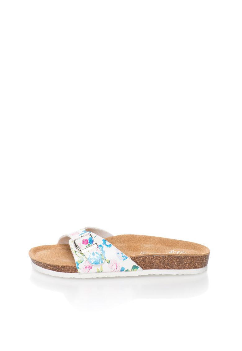 Papuci alb si albastru cu model floral