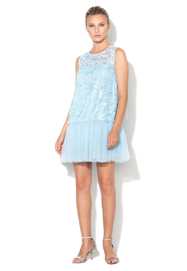 Rochie albastru azur de plasa cu paiete de la NISSA