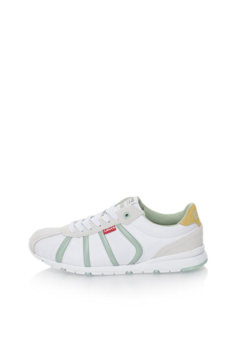 Levis Pantofi sport alb si verde cu garnituri de piele intoarsa 501