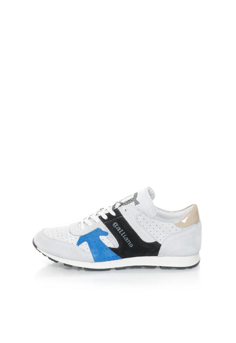 John Galliano Pantofi sport tricolori de piele intoarsa cu perforatii