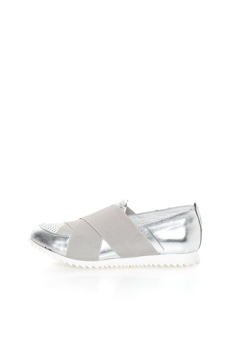 John Galliano Pantofi slip-on argintii de piele cu insertie elastica