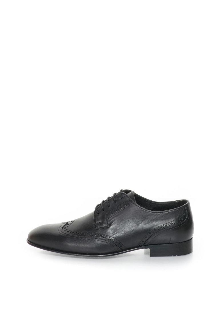 John Galliano Pantofi brogue negri de piele