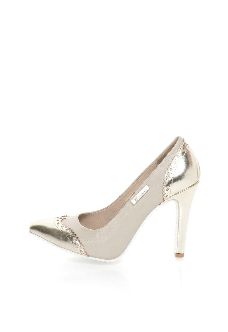 John Galliano Pantofi de piele auriu si grej cu toc stiletto