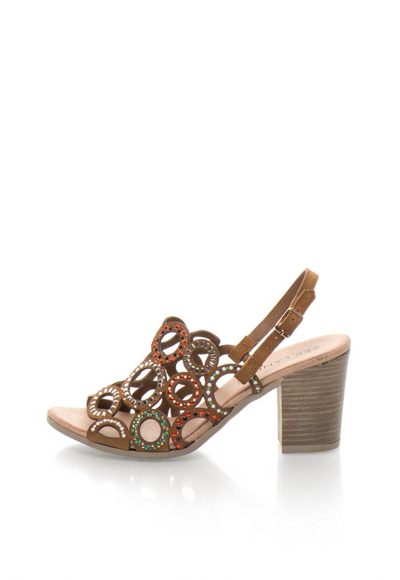Sandale de piele intoarsa cu toc inalt si decupaje