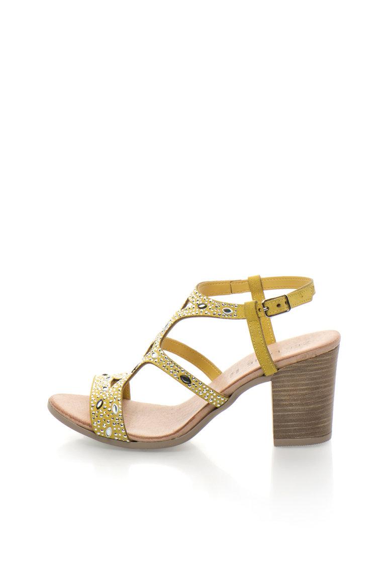Sandale de piele intoarsa cu strasuri