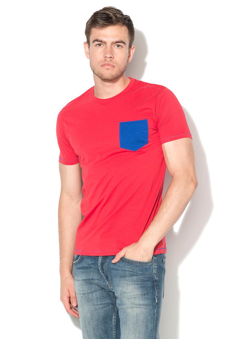 US Polo Assn Tricou rosu si albastru royal cu buzunar pe piept