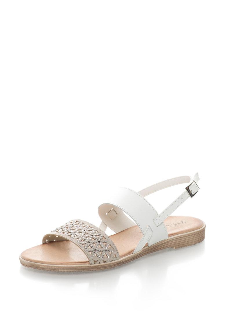 Sandale de piele peliculizata cu strasuri Bambi