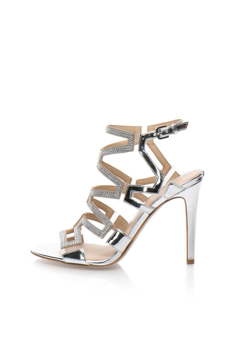 Sandale argintii cu toc inalt si strasuri