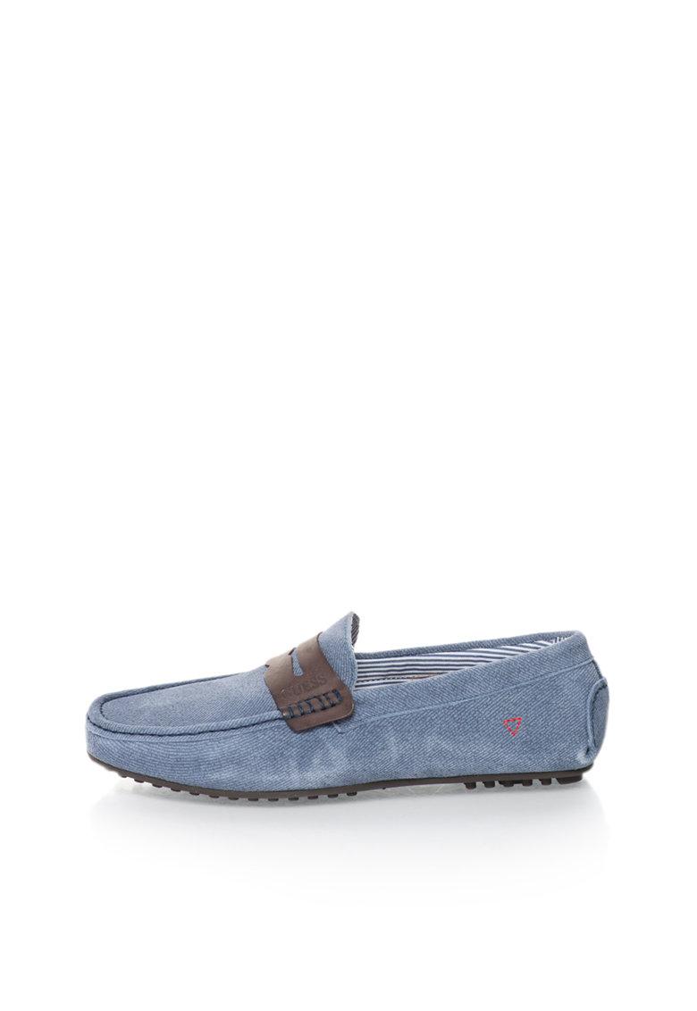 GUESS Pantofi loafer albastru cadet cu aspect de denim