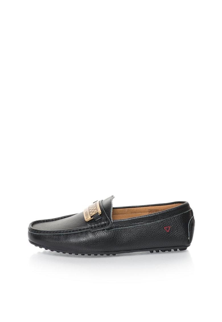 GUESS Pantofi loafer negri de piele