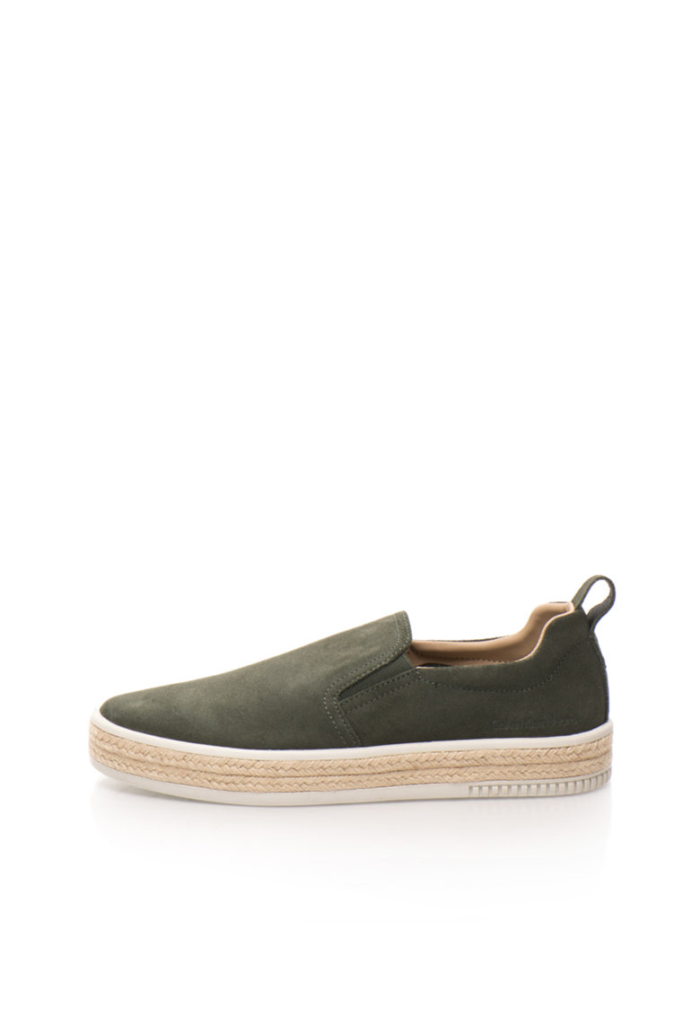 Calvin Klein Jeans Pantofi slip-on verde inchis de piele intoarsa Mackenzie