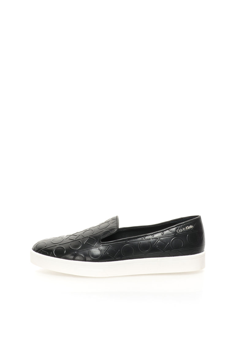 Calvin Klein Pantofi slip-on negri de piele Ilaina