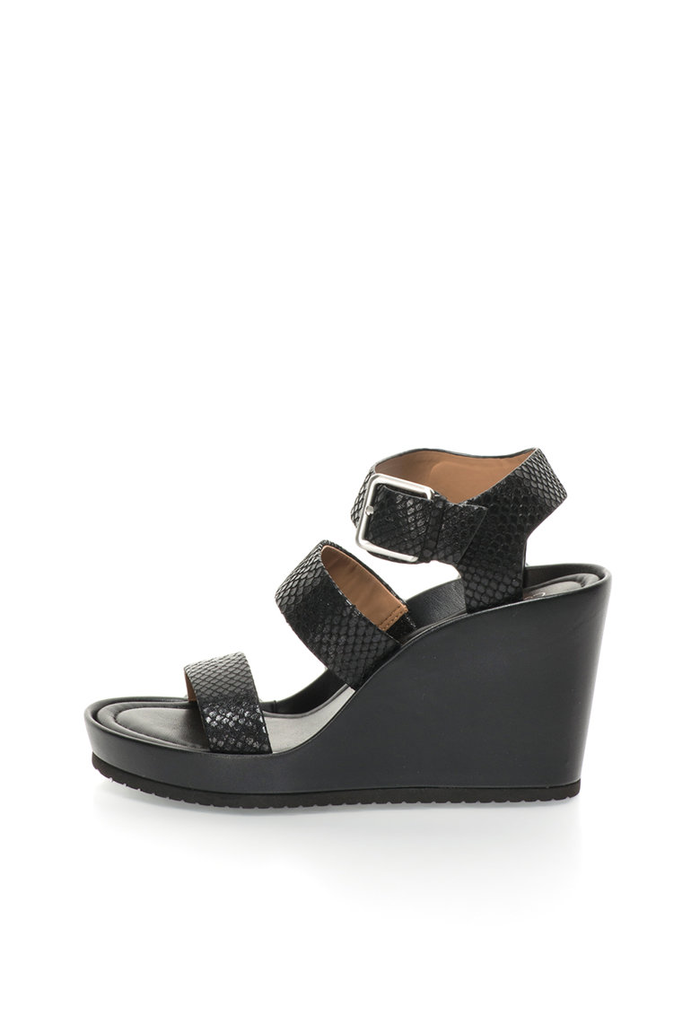 Calvin Klein Sandale negre de piele cu platforma wedge Hailey