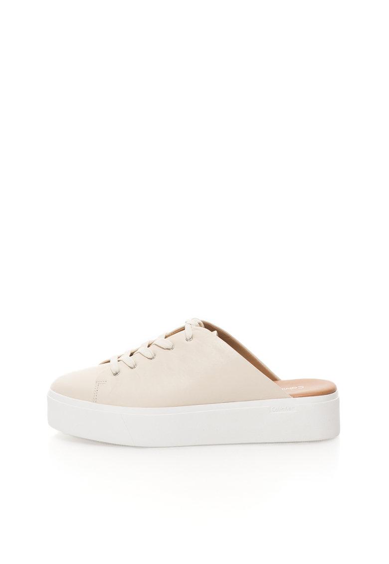 Calvin Klein Pantofi sport flatform ecru de piele cu calcai decupat Jaleh