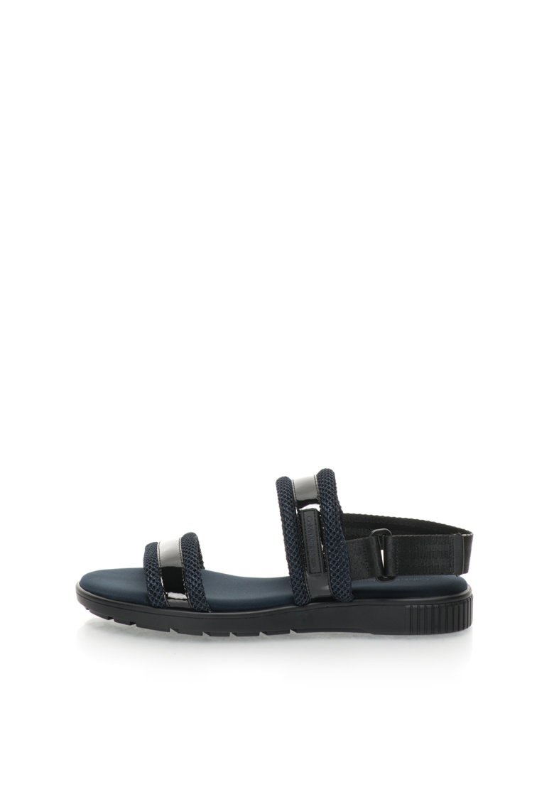 Sandale slingback lacuite bleumarin cu negru Magic