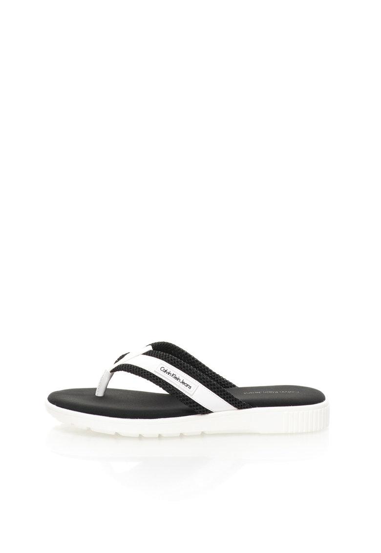 Calvin Klein Jeans Papuci flip-flop negru cu alb Mahal