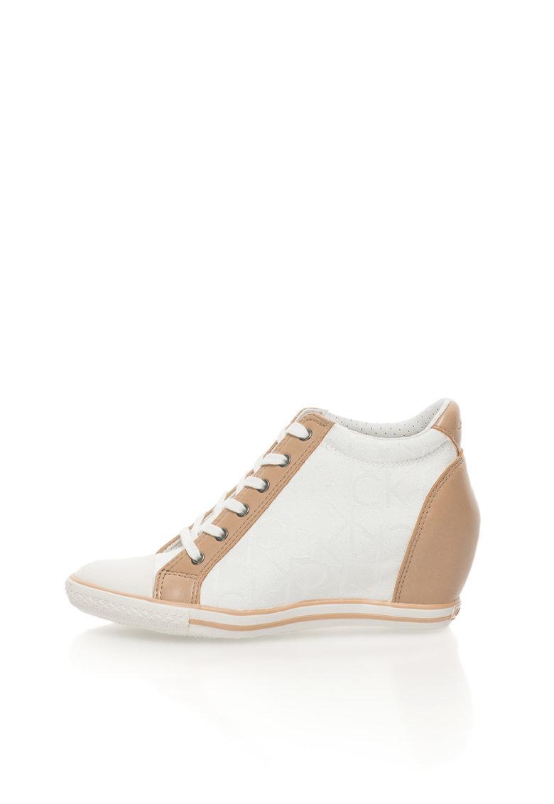 Calvin Klein Jeans Pantofi sport alb si maro cu platforma wedge ascunsa Vero
