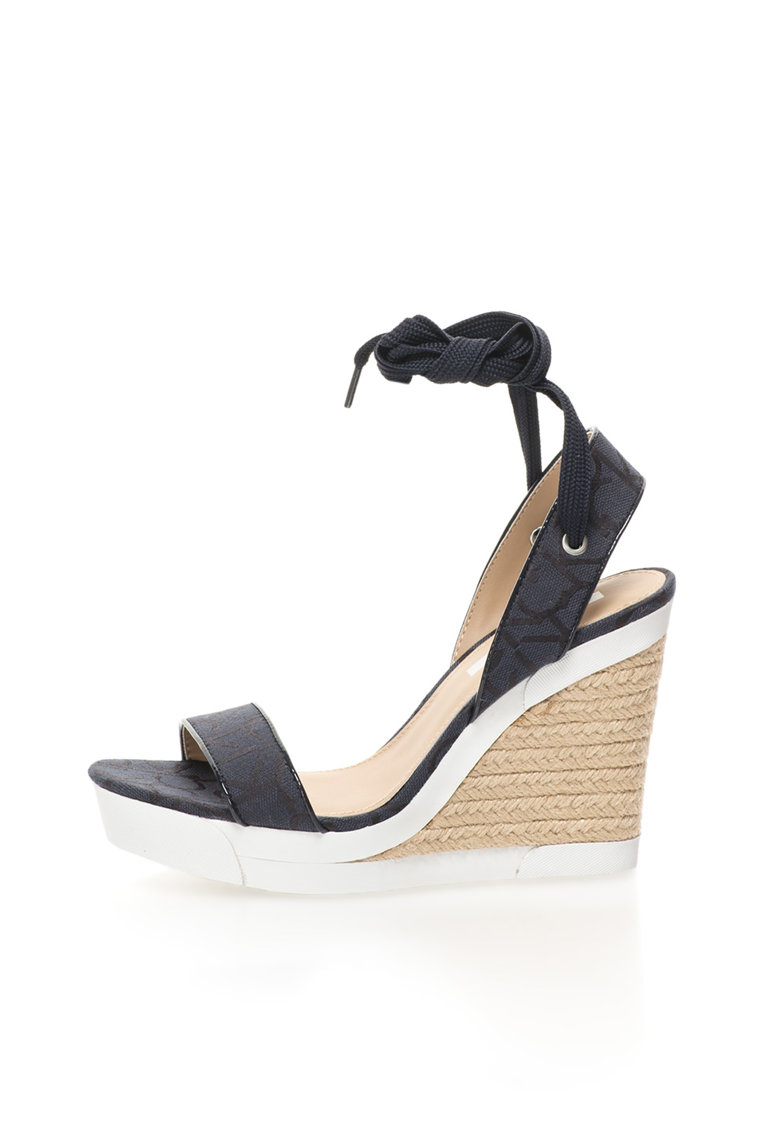 Sandale wedge bleumarin inchis Eleanor