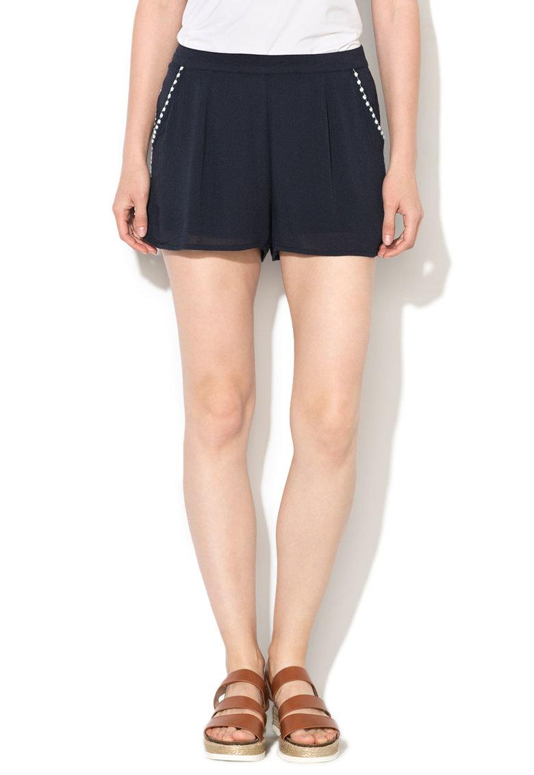 Only Pantaloni scurti bleumarin cu detalii brodate Fame