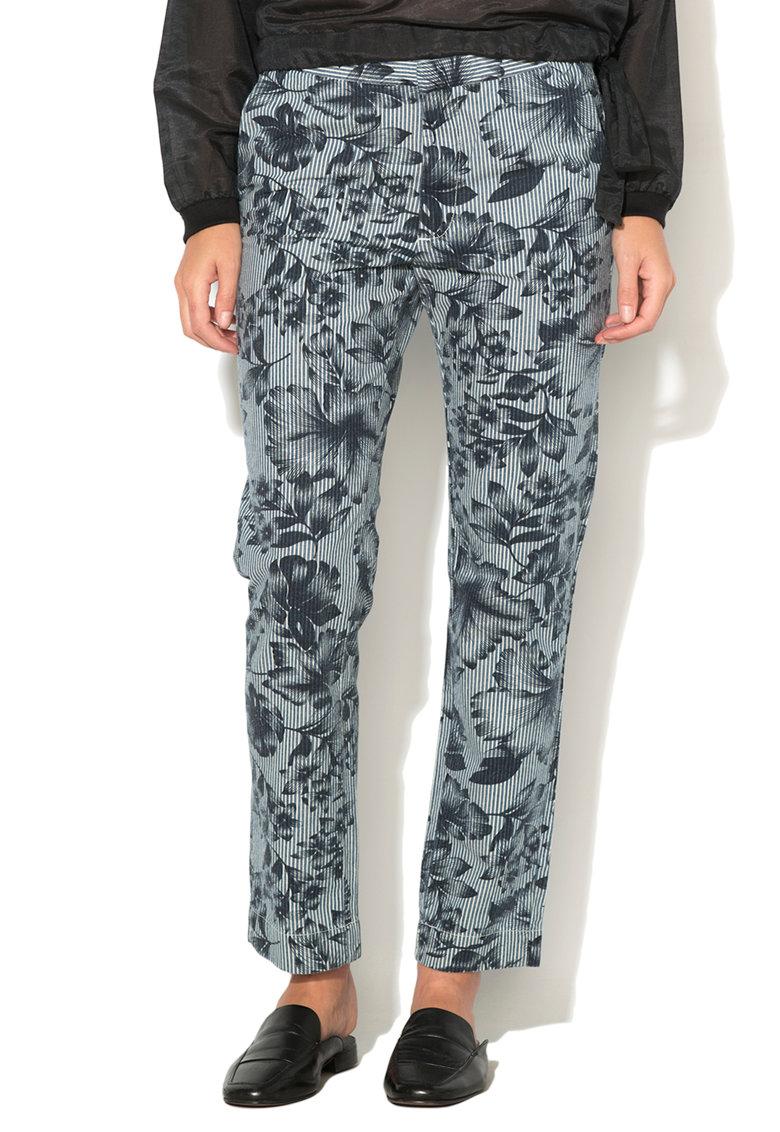 Pantaloni albastru si alb cu imprimeu Alessia