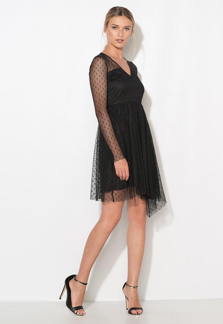Rochie neagra din plasa cu buline