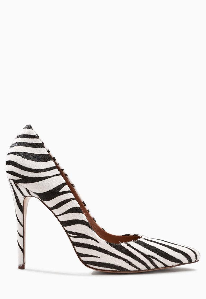 NEXT Pantofi stiletto negru cu alb de piele cu par scurt