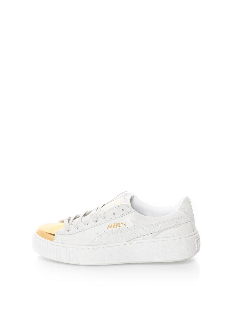 Puma Pantofi sport alb prafuit cu auriu de piele intoarsa si piele