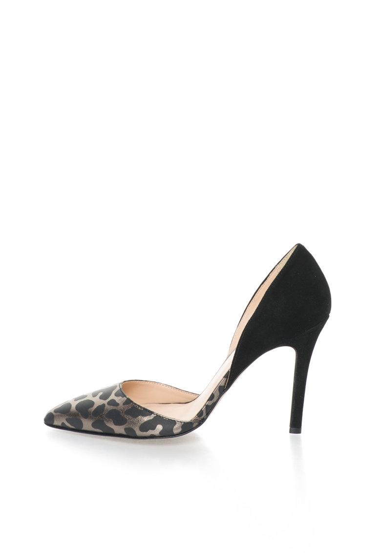Versace 1969 Abbigliamento Sportivo Pantofi d'Orsay negru si gri hematit de piele Naomi