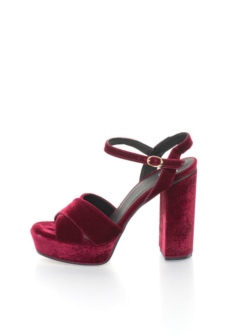 Versace 1969 Abbigliamento Sportivo Sandale magenta catifelate cu platforma Lolie