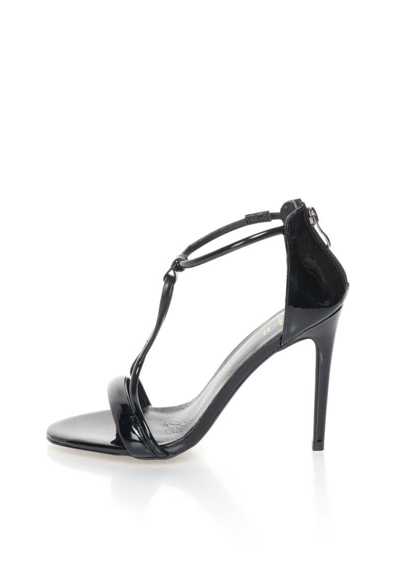 Sandale stiletto negre cu aspect lacuit Odette