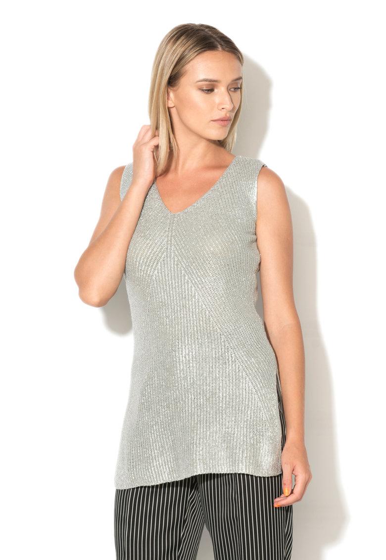 Top argintiu tricotat
