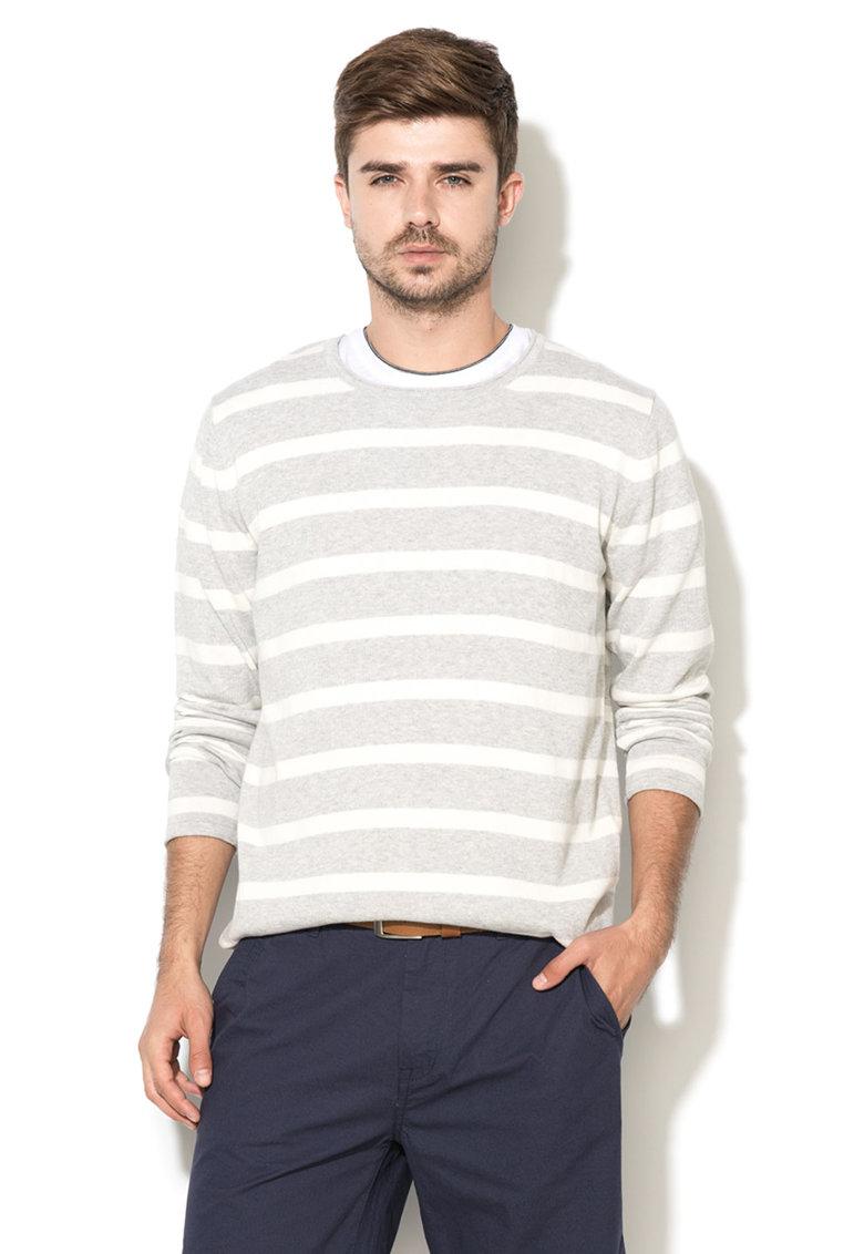 GREYSTONE Pulover gri deschis cu alb tricotat fin