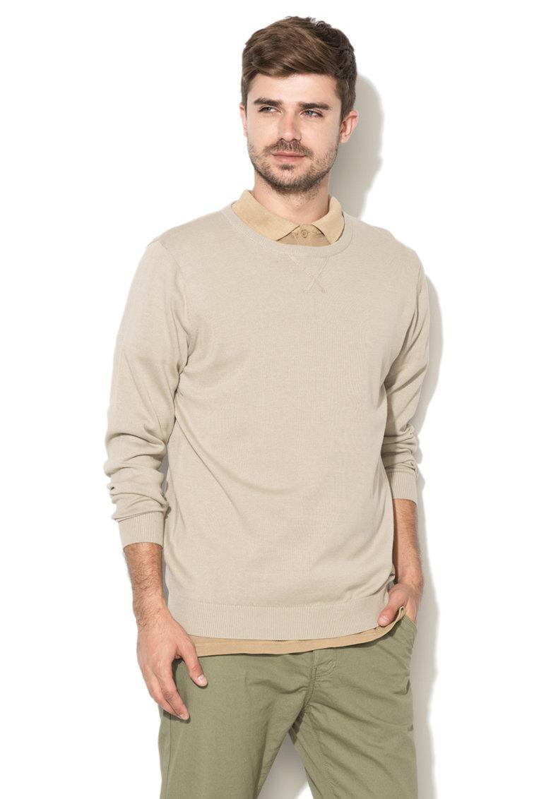Pulover bej tricotat fin