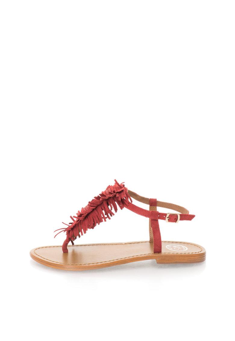 Sandale rosii de piele intoarsa cu bareta in forma de T