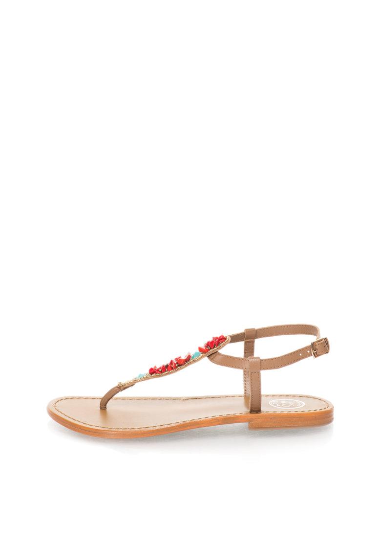 WHITE SUN Sandale maro cu bareta separatoare si margele multicolore