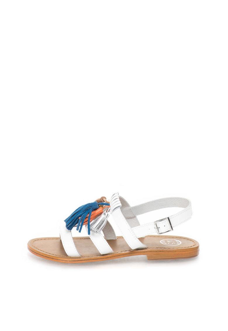 WHITE SUN Sandale albe de piele cu canafi multicolori