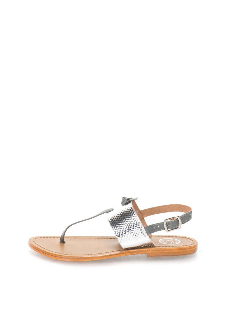 WHITE SUN Sandale gri si argintiu de piele cu bareta separatoare