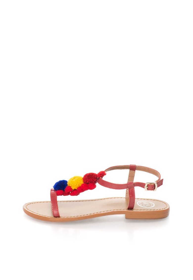 WHITE SUN Sandale rosii de piele cu ciucuri