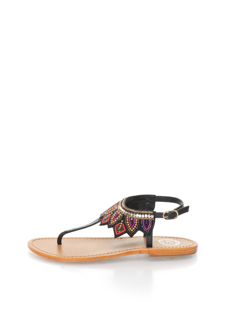 WHITE SUN Sandale cu margele multicolore si bareta T