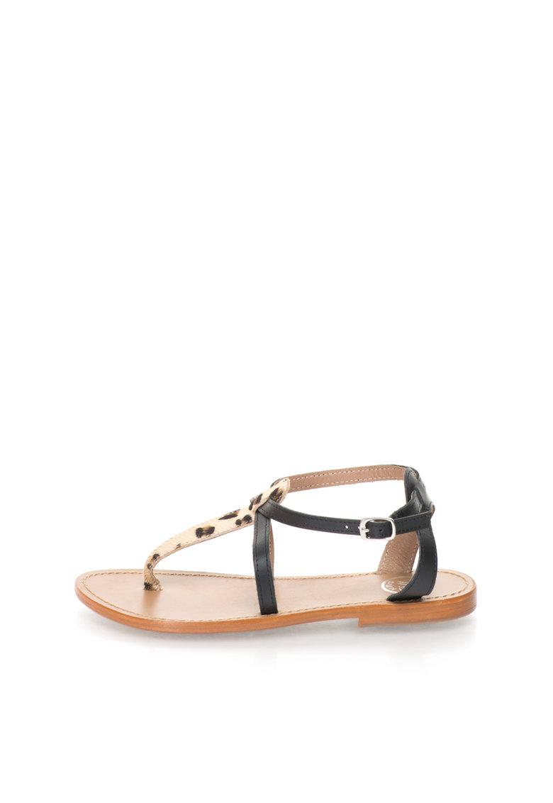 Sandale negru si bej de piele cu bareta separatoare
