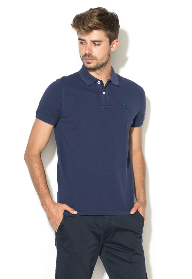 US Polo Assn Tricou polo bleumarin din pique Player