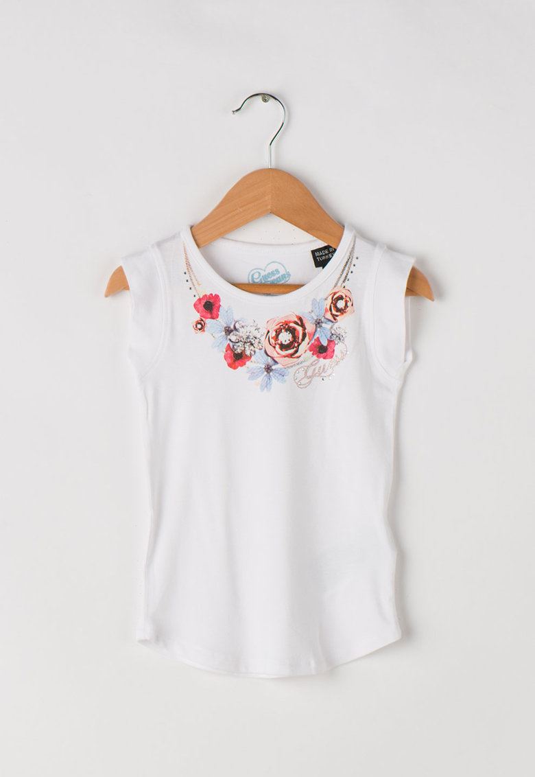 Tricou lung cu imprimeu floral - decorat cu strasuri