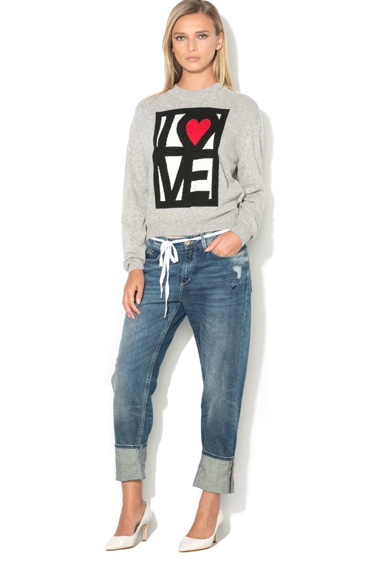 Love Moschino Pulover tricotat fin cu imprimeu emblematic