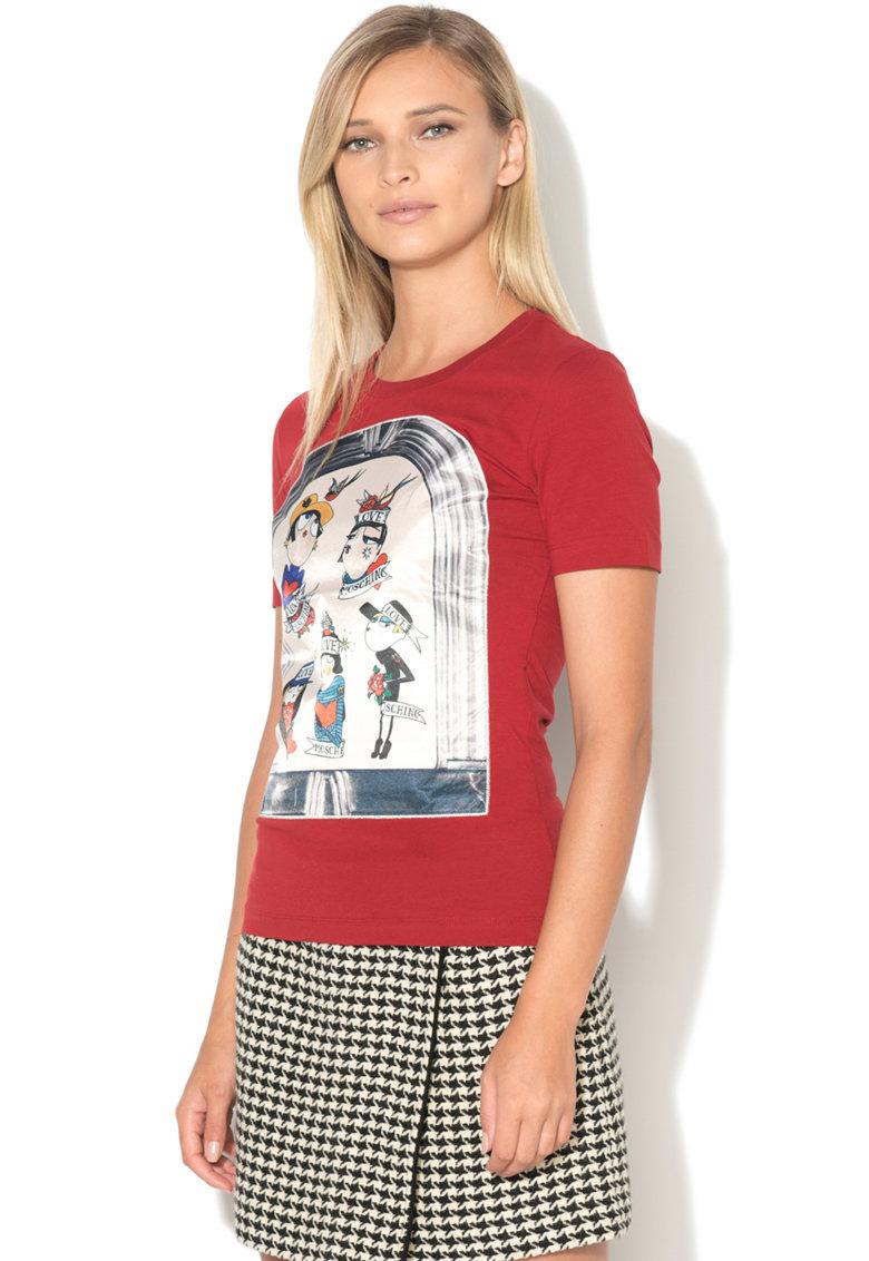 Love Moschino Tricou cu aplicatie frontala
