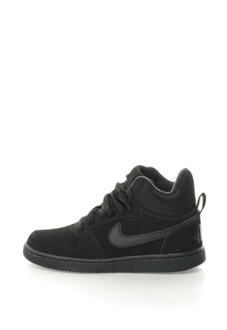 Pantofi sport mid-high cu insertii de piele intoarsa Court Borough de la Nike – 844906-002