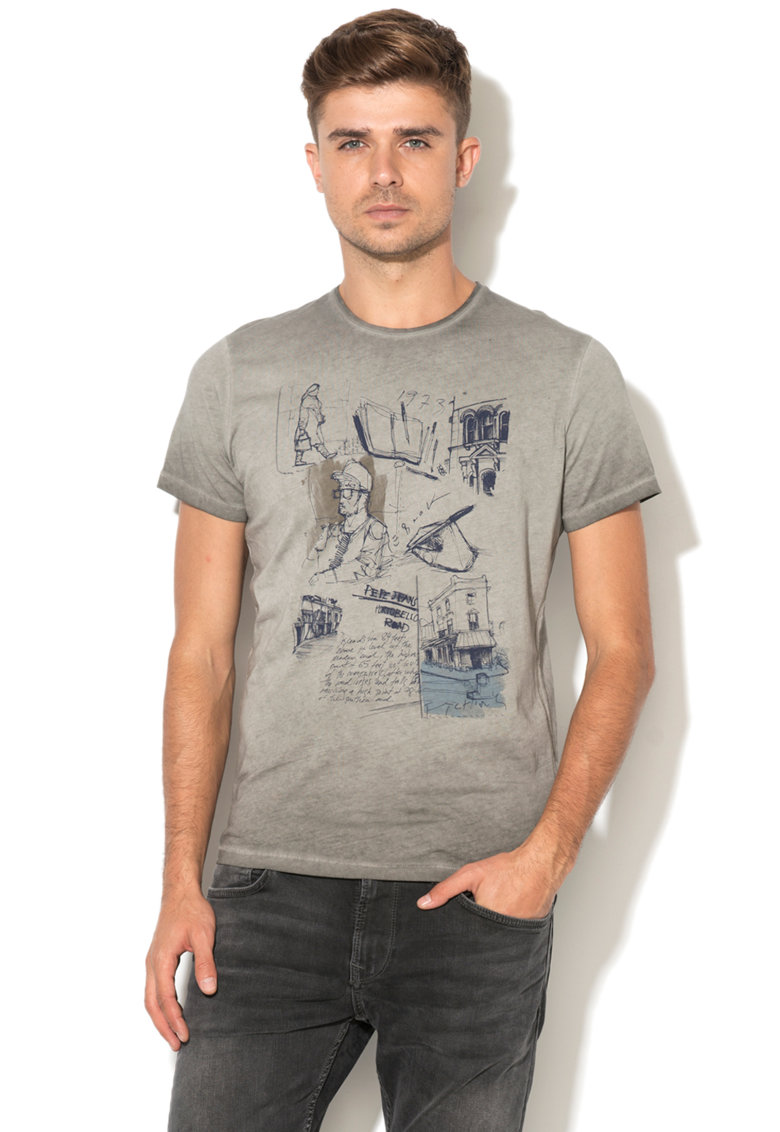 Tricou slim fit cu imprimeu grafic Philippe